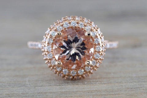 Penelope Round Morganite 3D Halo Ring M3087