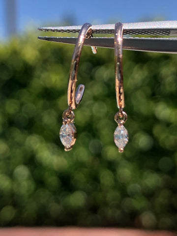 14k Rose Gold Marquise Diamond Dangling Hoop Earring