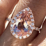 Gold Pear Morganite Diamond Halo Engagement Ring ASPER1430059