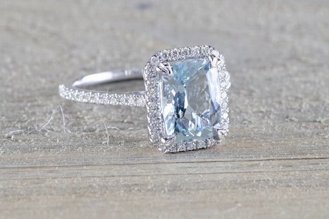 Rebecca cushion Aquamarine Diamond Halo ASPER1430042