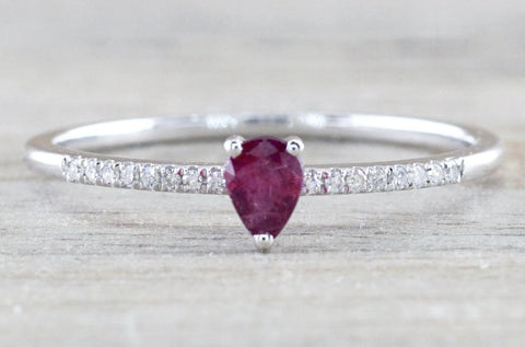Pear Ruby And Diamond Ring FR01009