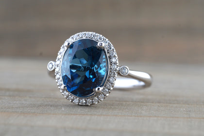 10x8mm London Blue Topaz Oval Diamond Halo Ring M3095