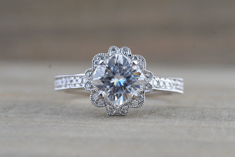 Vintage Cushion Cut Moissanite 6mm Diamond Halo Engagement Ring M3096