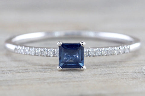Square Blue Sapphire And Diamond Ring FR01007