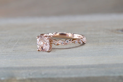 Floral Cushion Cushion Halo Morganite Ring