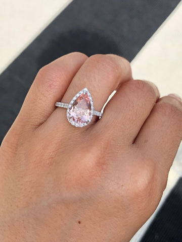 Pear Morganite Diamond Halo Ring
