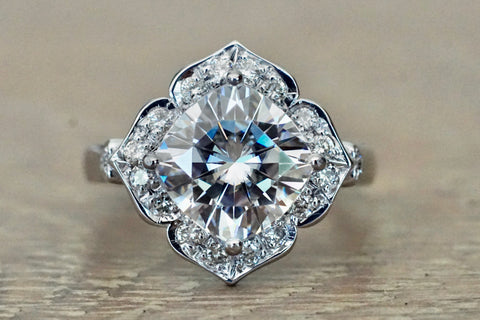 Cushion Cut Moissanite 9x9mm Art Deco Vintage Halo Diamond Ring M3091