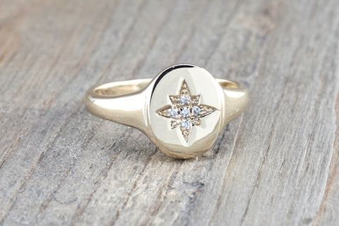 Gold North Star Signet Diamond Ring FR01014