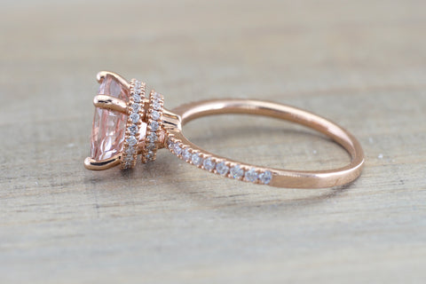 Double Row Hidden Under Halo Round Morganite Diamond Ring