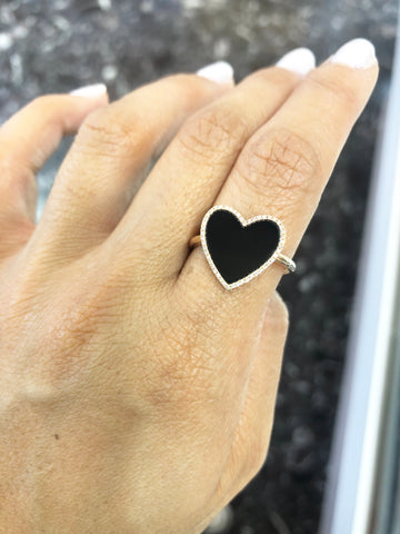 14k Rose Gold Diamond and Black Onyx Ring