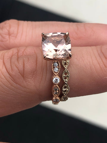 8mm Cushion Cut Morganite with Diamond Art Deco Mounting