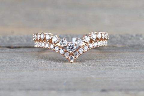 Diamond V Groove Tiara Crown Ring FR01013