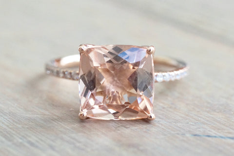 Custom Tulip Emerald Morganite and Diamond Ring