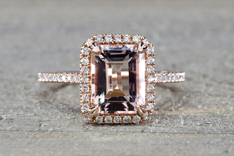 Rebecca Elongated Emerald Morganite Diamond Halo Ring M3087