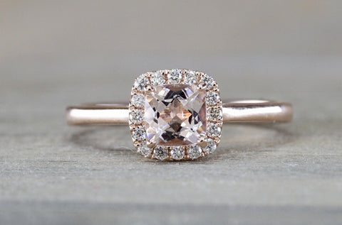 Andrea Halo Solitaire 5mm Cushion Morganite M3021