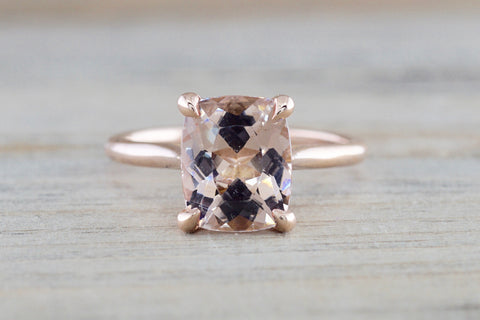 Custom Liz Morganite Ring 14k Gold 10x8mm Cushion Cut