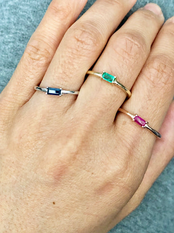 Colored Gemstone Elongated Single Stone Gold Ring