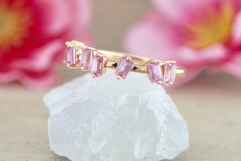 18k Rose Gold Pink Sapphire Baguette Cut Band Stackable Ring Wedding ASPBR010020