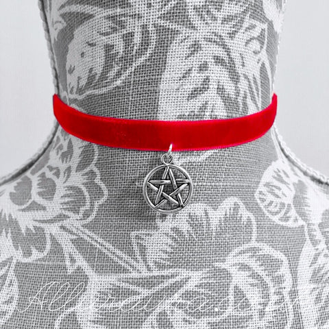 Velvet Pentagram Choker (Red)