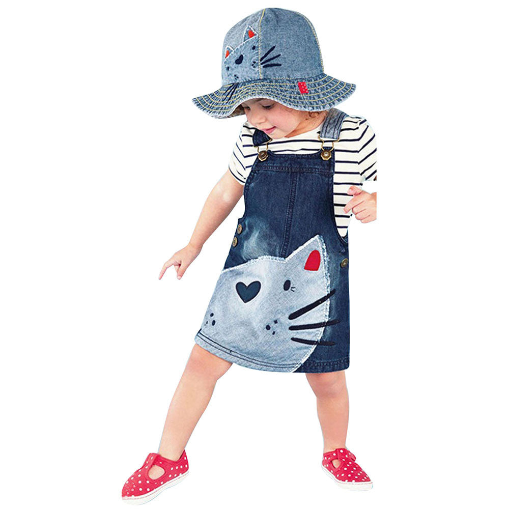 KIDS Clothes Hot Selling Children Toddler Kid Baby Girls Denim Straps Sundress Print Piece Dress Clothing Outfits Set