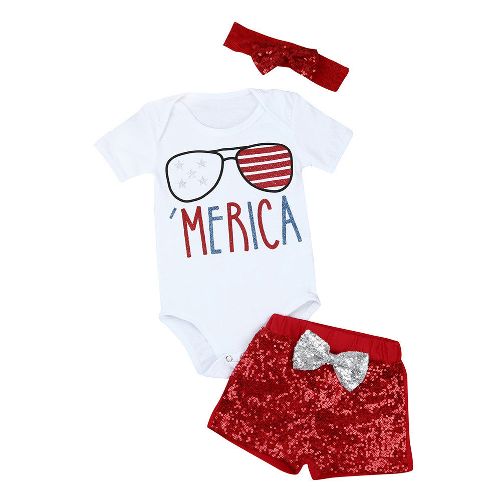 Baby Girls Clothes Set Glasses Print Top Rompers +Sequin Bowknot Pants+Headband Cotton Kids Outfits Sunsuit Children Clothing