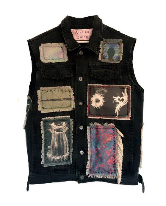 Patchwork Black Denim Vest