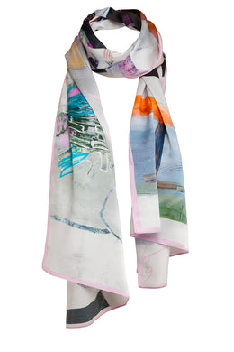Pastel Painted Scarf  ~ Eco Organic Cotton Voile *Pre-Order*