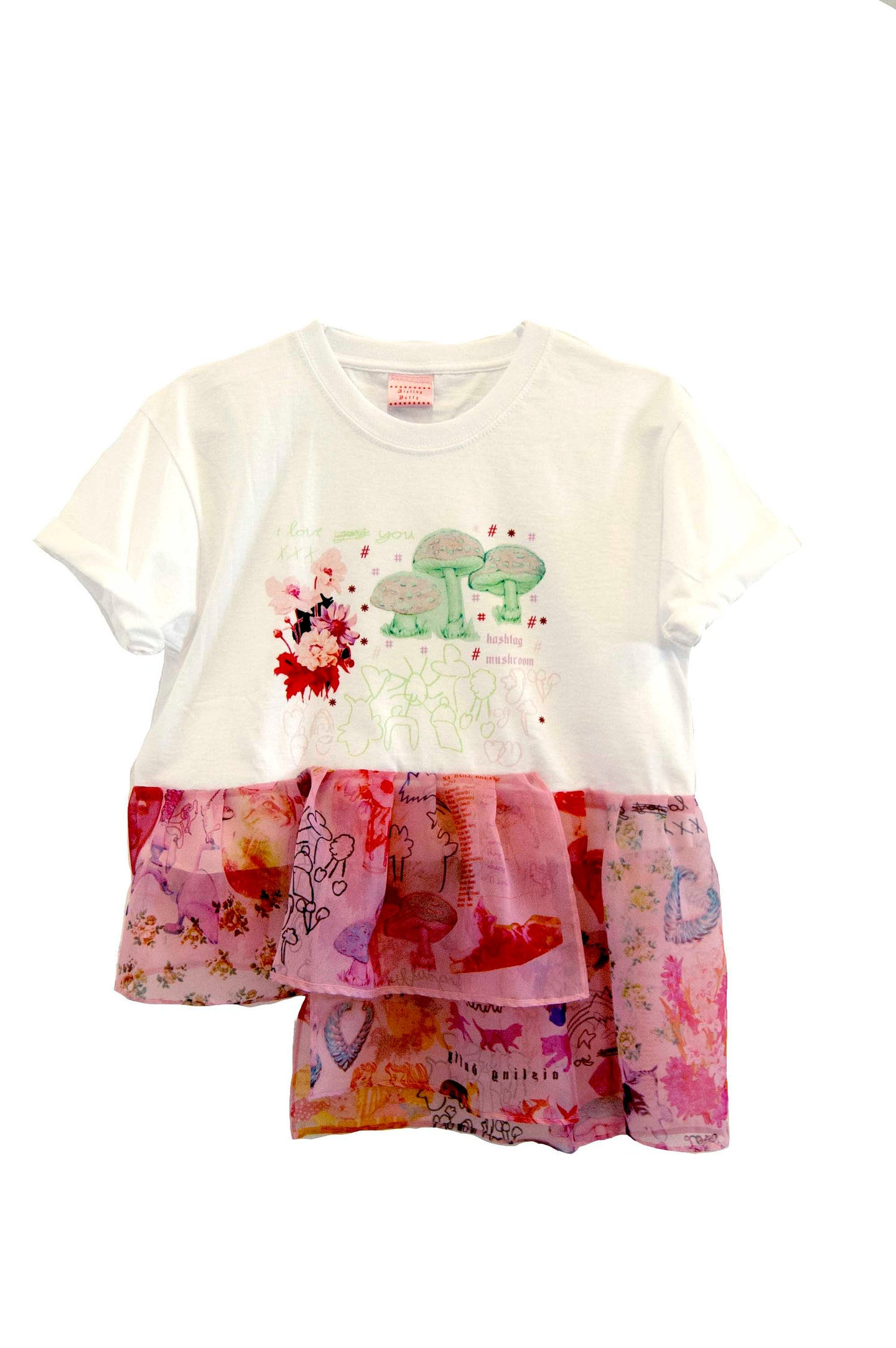 #Hashtag Mushroom *Limited Edition* ~ Chiffon Ruffle Cropped Cotton T-Shirt