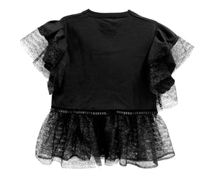 Tattooed Heart Black Frilled Top