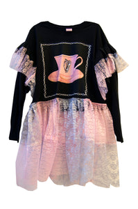 Tea At The Irish Embassy Sequin Long Sleeve Frilled Dress