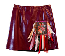 Blood Red Diamonte & Ribbon Patch Vinyl Skirt