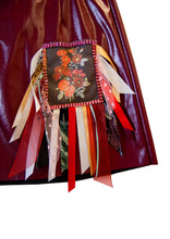 AW20 Blood Red Diamonte & Ribbon Patch Vinyl Skirt