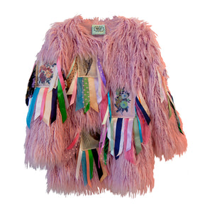 Pink Faux Fur Ribbon Patch Coat