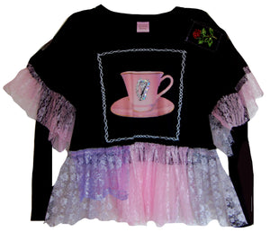 AW19 Tea with Harp Frilly Long Sleeve ~Medium
