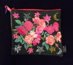 I'll Be You & You'll Be Me ~ Vintage Floral Glitter Handmade Clutchbag