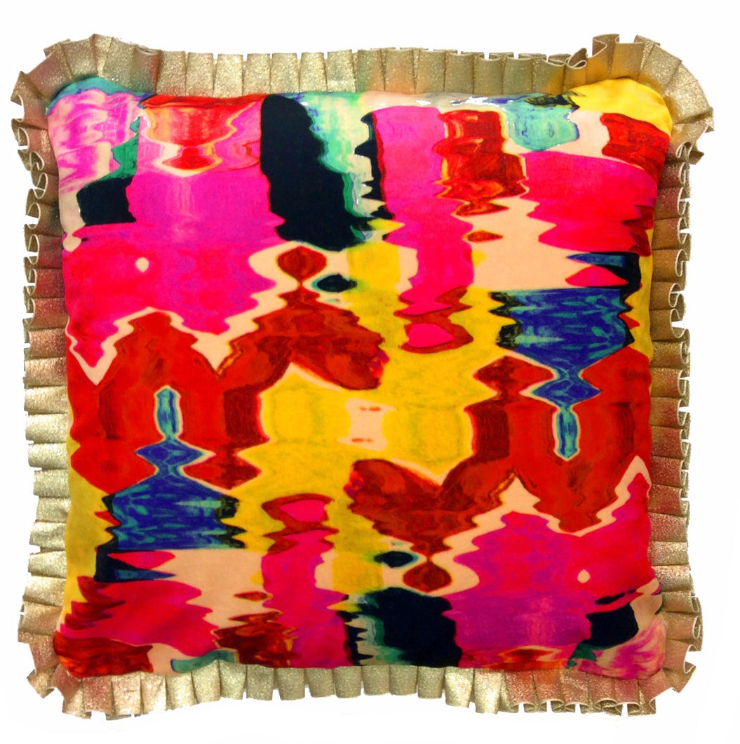 Luxury Ruffle HandMade Printed Velvet Cushion