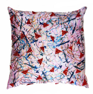 Red Glitter HandMade Printed Cushion