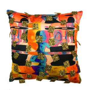 Gold Glitter Sequin Handmade Printed Cushion