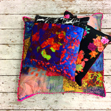 Neon Patchwork Handmade Printed Velvet Cushion