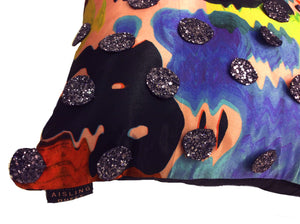 Silver Glitter Sequin HandMade Printed Cushion