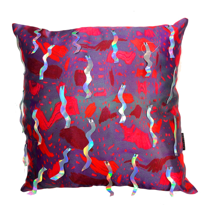 ZigZag Holographic Sequin HandMade Printed Cushion