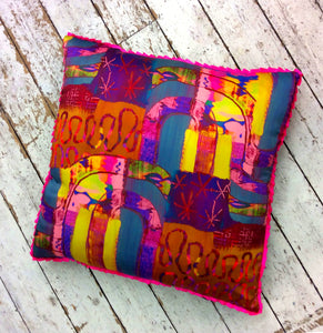 Pink Rainbow HandMade Printed Floor Cushion