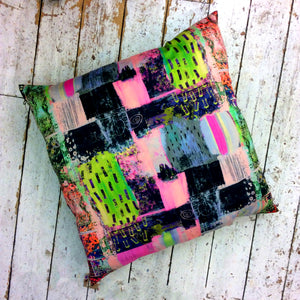 Lime Green & Pink HandMade Printed Floor Cushion