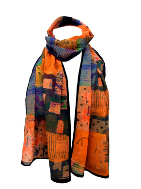 Burn Your Words ~ Georgette Long Printed Scarf ~ 2018 Collection