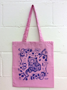 Pastel Candy Pink Cat Eco~Cotton Screenprinted Totebag