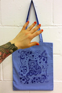 Pastel Blue Cat Eco~Cotton Screenprinted Totebag