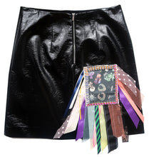 Black Vinyl Diamonte & Ribbon Upcycled Skirt