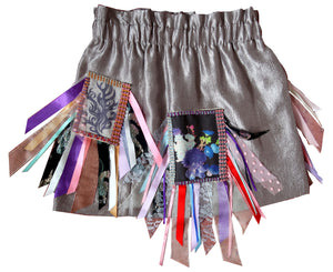 Silver Diamonte & Ribbon Upcycled Skirt