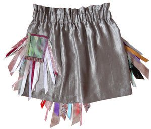 SS20 Silver Diamonte & Ribbon Upcycled Skirt