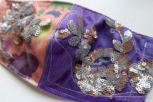 Peach & Purple Floral Sequin ~ S/M